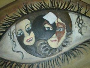 Augenpaar 90x70 Öl auf Leinwand