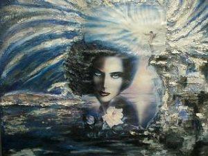 Königin der Nacht 90x70 Acryl auf Leinwand