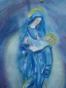 Maria mit Jesuskind 90x70 auf Aquarell